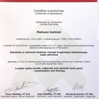 mgr Matuesz Galiński, trener personalny, fizjoterapeuta