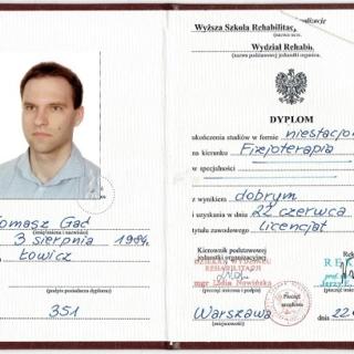 Tomasz Gać, trener personalny, fizjoterapeuta