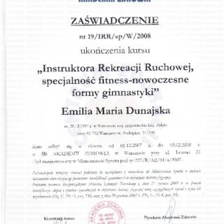 Emilia Dunajska, trener personalny