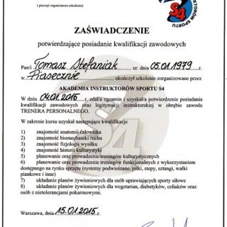 Tomasz Stefaniak, trener personalny